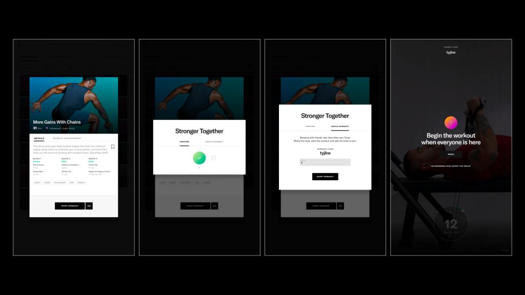 Screenshots of how to select Virtual Group Workouts on Tonal