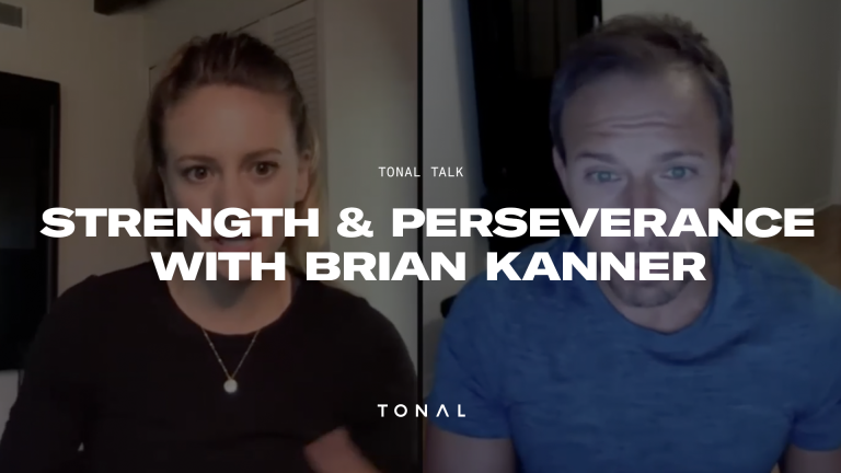 image with a line down the middle and a man and a woman on each side of the screen, with a title overlay saying: Strength and Perseverance with Brian Kanner