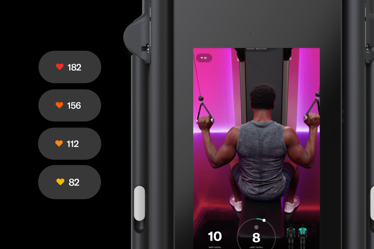 graphic screenshot of a Tonal workout screen showing the UI of a heart rate zones