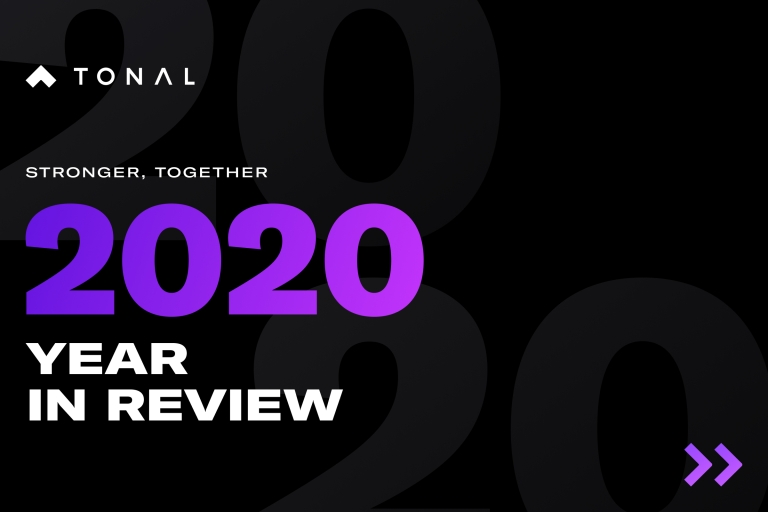 a black screen with the words: stronger, together 2020 year in review text across it