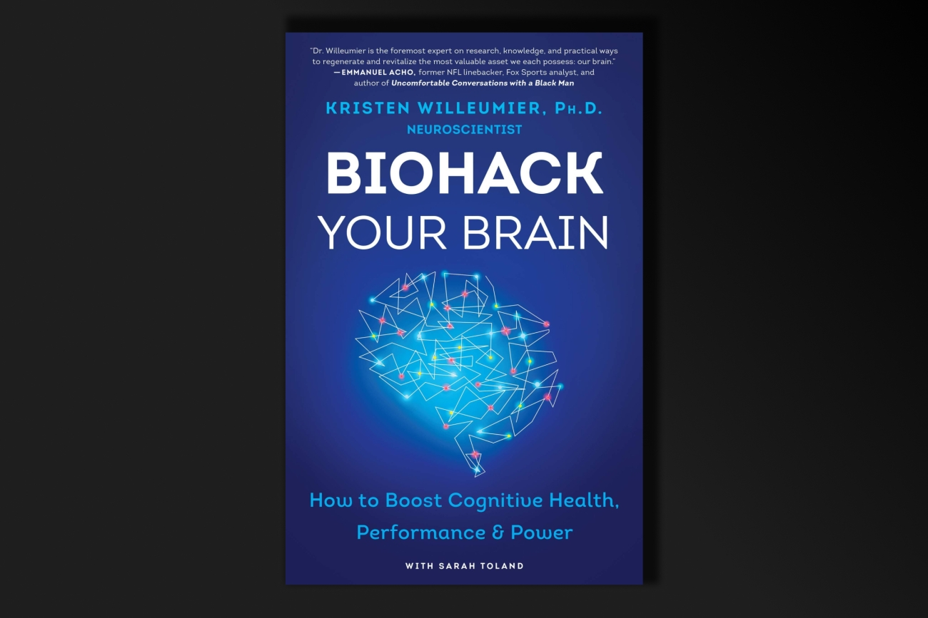 blue book cover art with the title:  Biohack Your Brain and a graphic of a brain with dots and lines