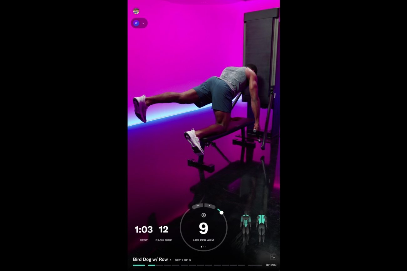 screenshot of Tonal UI with a man performing an exercise