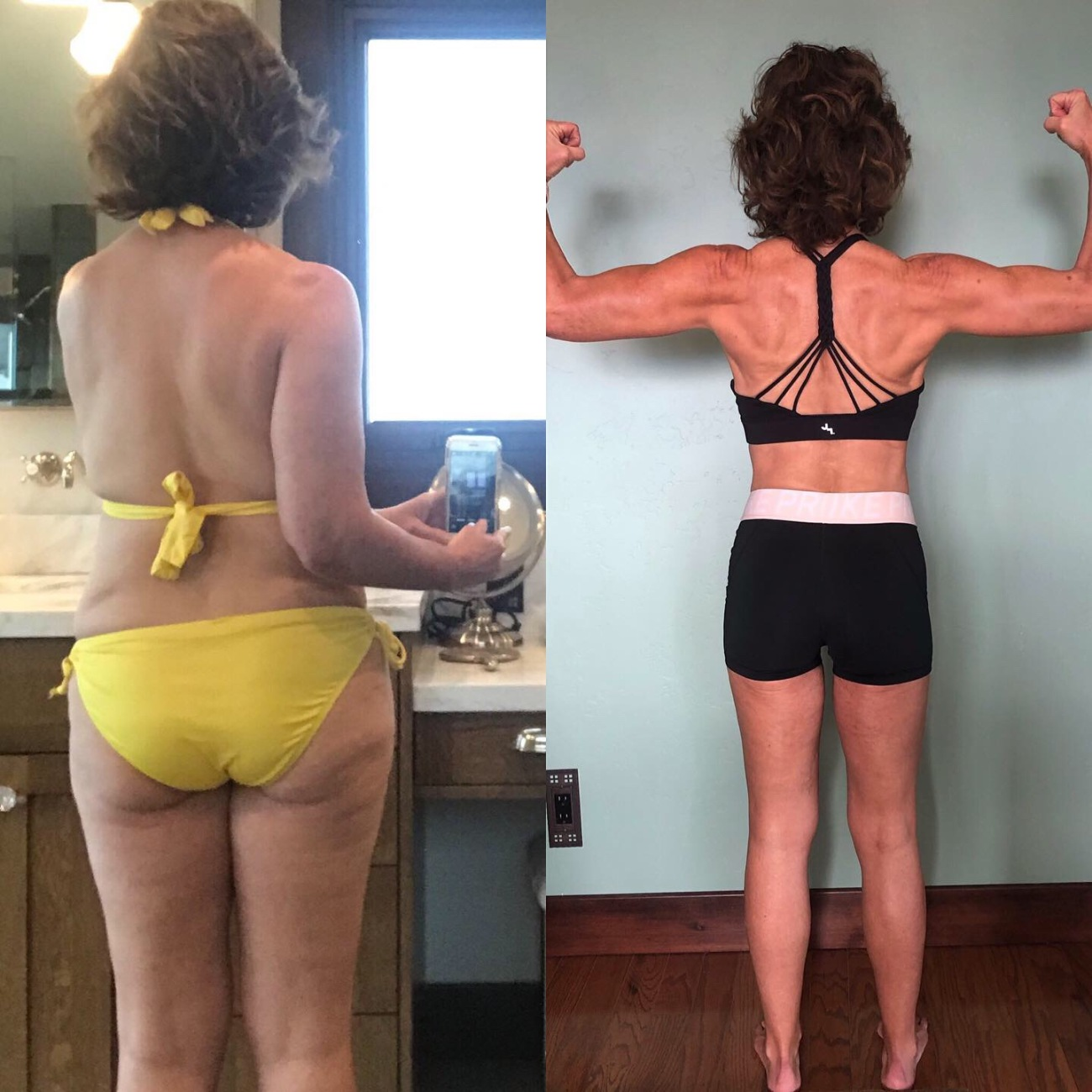 two images side by side showing changes in a woman's body, the image on the left shows less muscle, but the image on the right, the woman is flexing her biceps