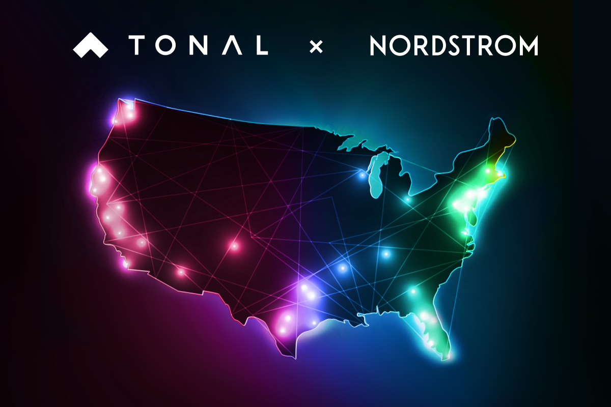 a graphic with an outline of the US, and dots indication new locations for Tonal.