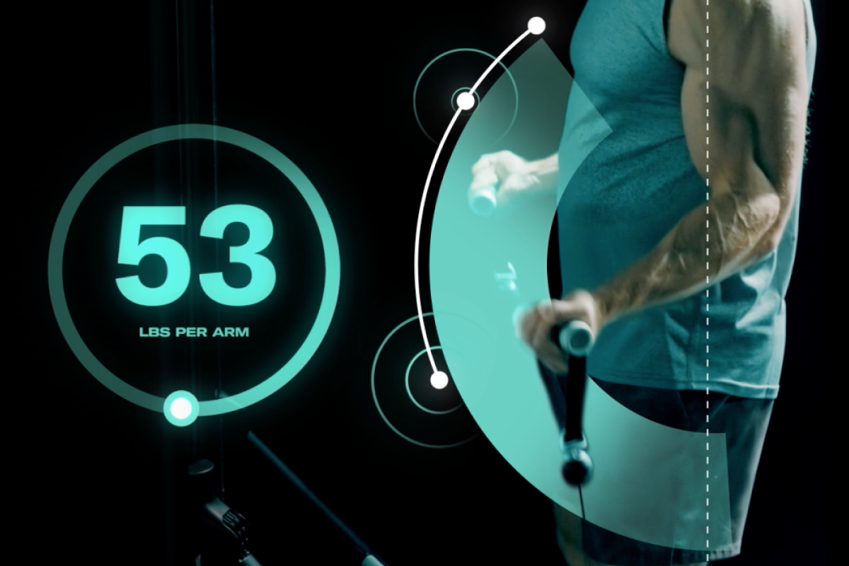 in this image graphic a man is performing bicep curls. on the left of the image is a number showing how much he is lifting: 53lbs