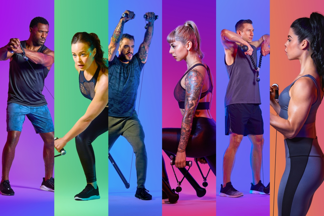 a screen split into six with different people working out in the six sections