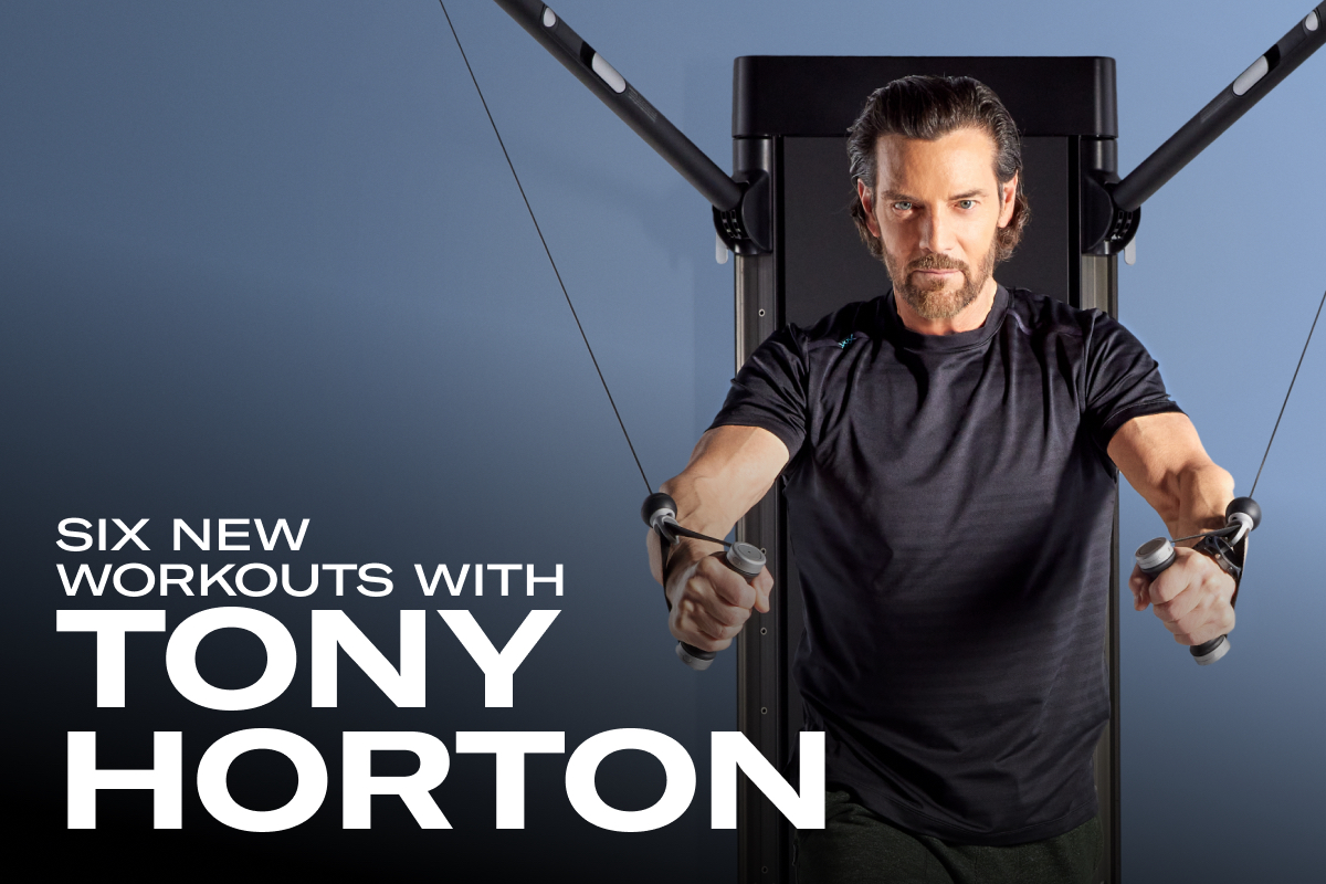 image of tony horton working out with tonal and the text: six new workouts with tony horton