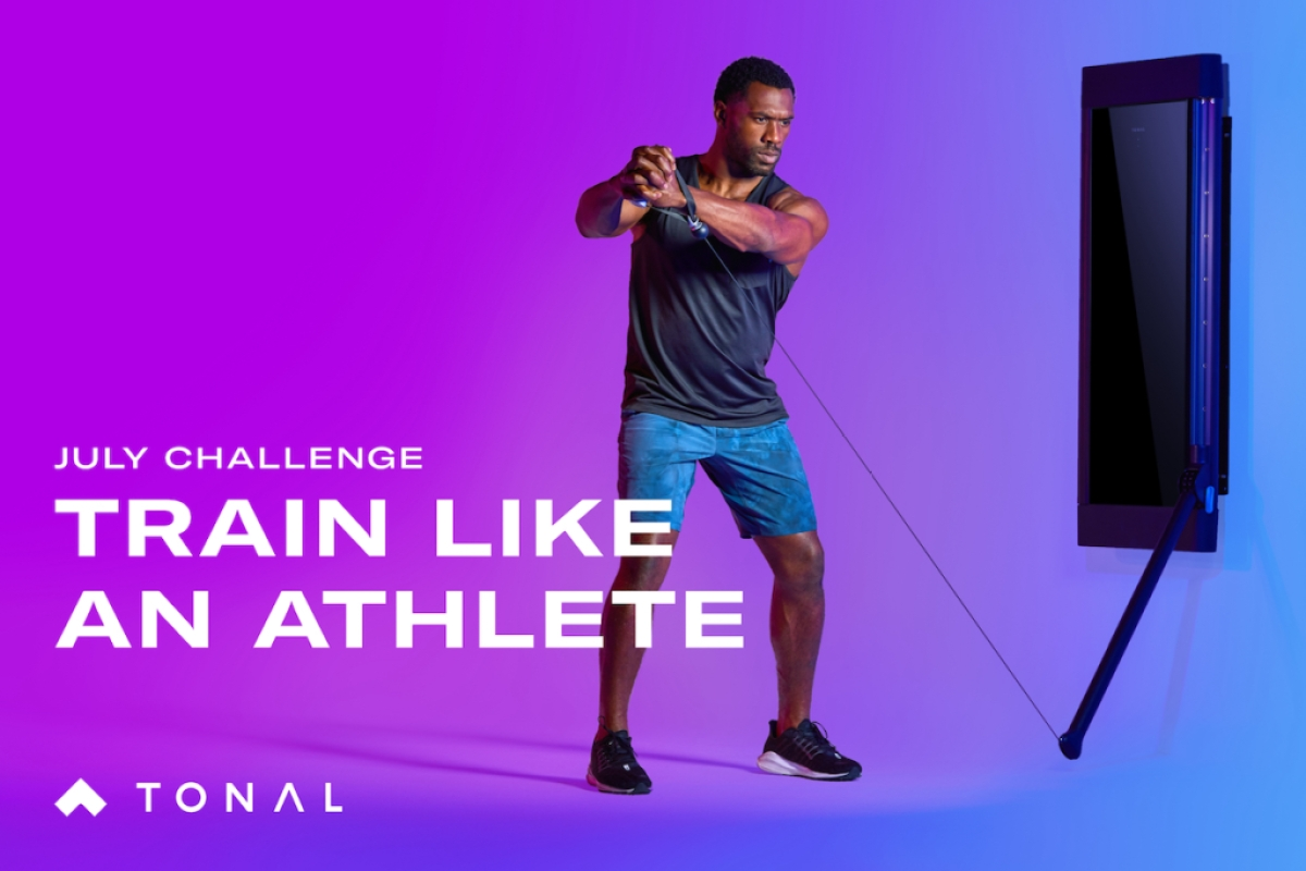 an image with a man training on tonal and the text: train like an athlete