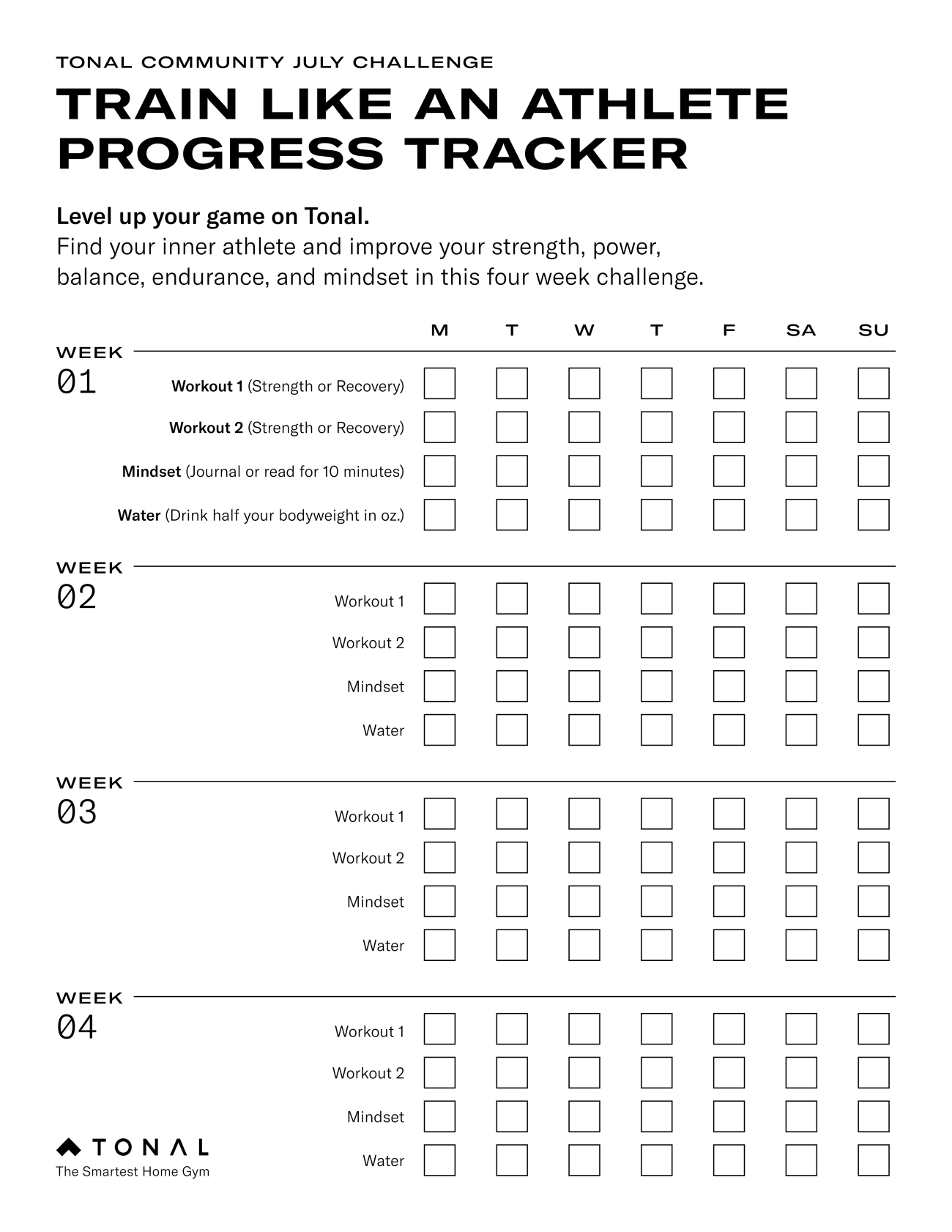 a weekly habits tracker with checkboxes for every day day of the week