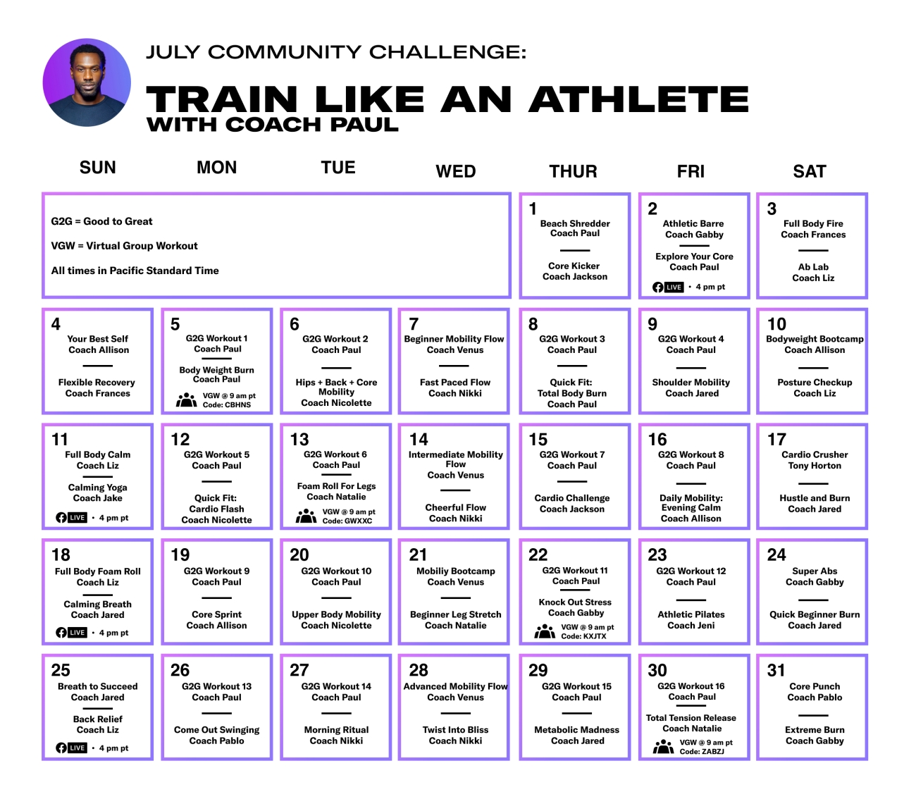a calendar for the month of july with different workout dates and recommendations