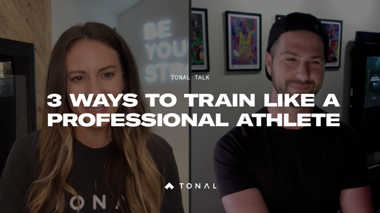 a split screen with a man on one side and a woman on the other with the title overlay: 3 ways to train like a professional athlete