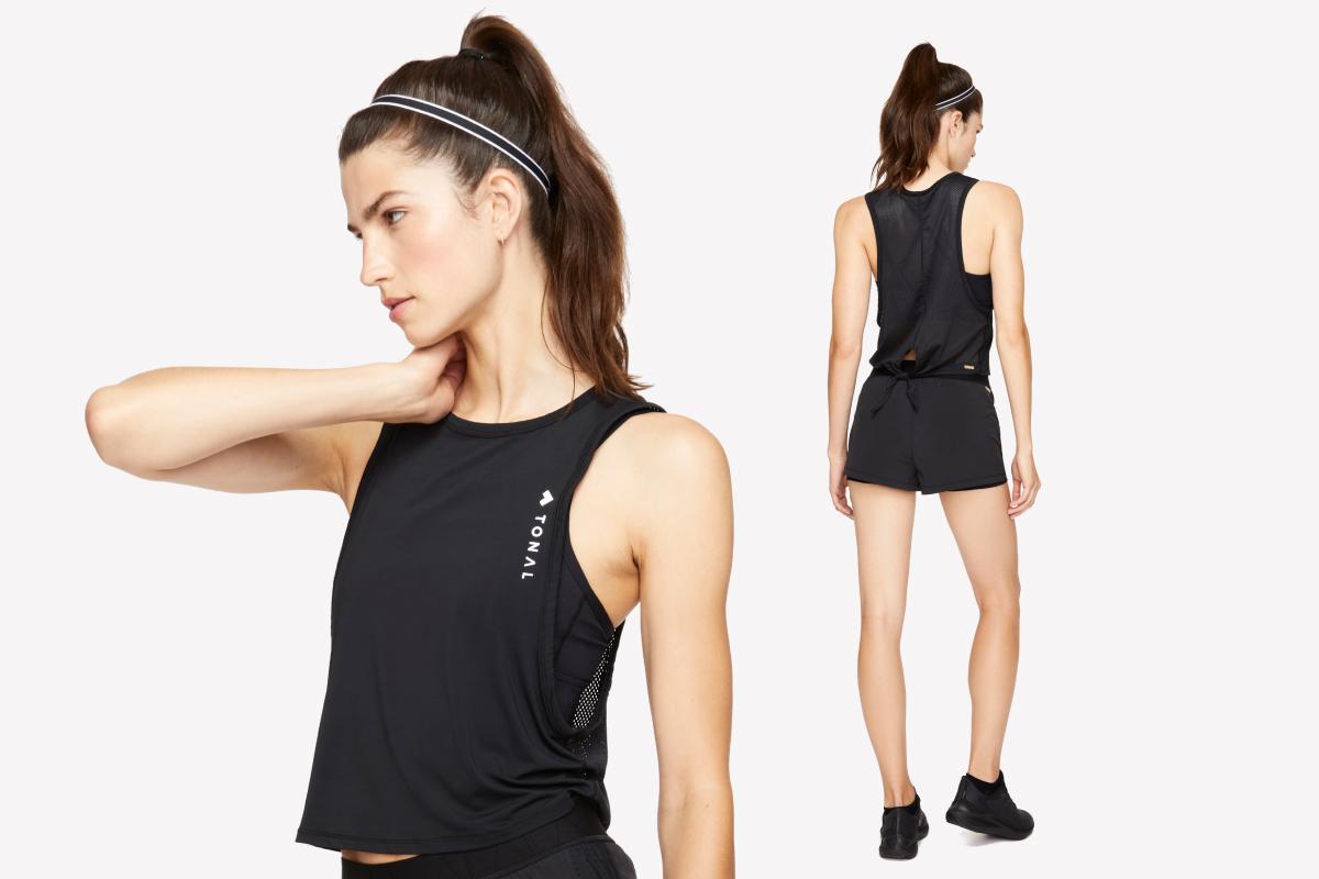 model wear tie back mesh top