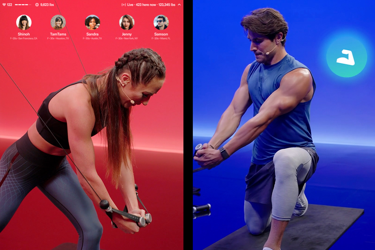 Image showcasing Tonal Live workouts experience. Coaches Nikki and Trace can be seen on a split screen working out