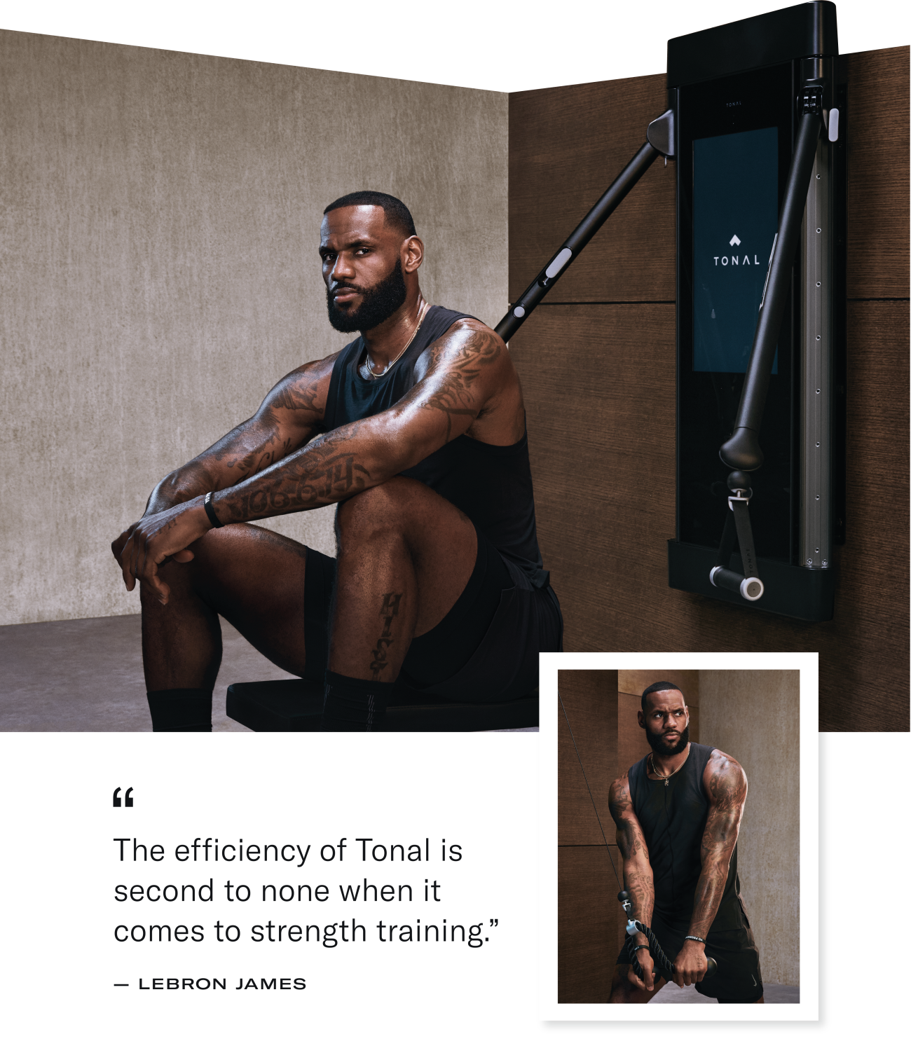 LeBron James sitting in front of a Tonal machine and working out on Tonal.